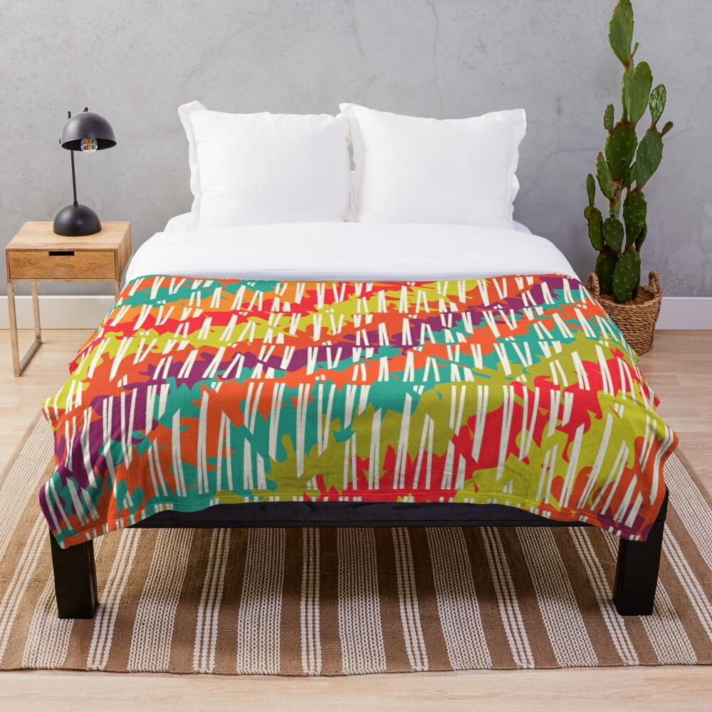 Colorful Funky Distressed Stripes Throw Blanket