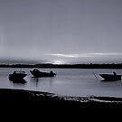 Boats at sunset by DBigwood