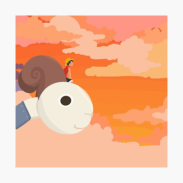One Piece Luffy and Going Merry Sunset Sticker Photographic Print