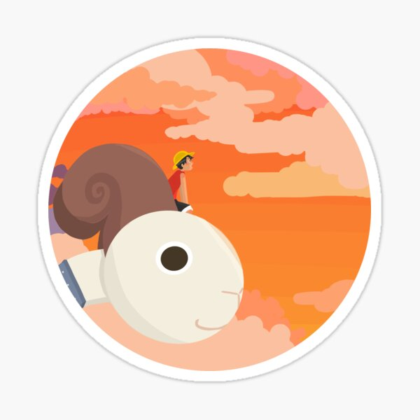 One Piece Luffy and Going Merry Sunset Sticker Sticker