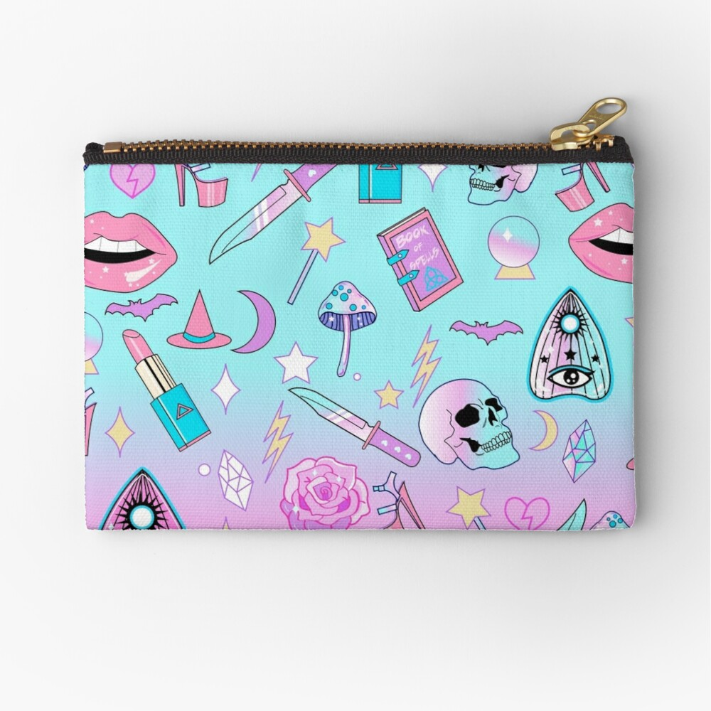 Girly Pastel Witch Goth Pattern Zipper Pouch