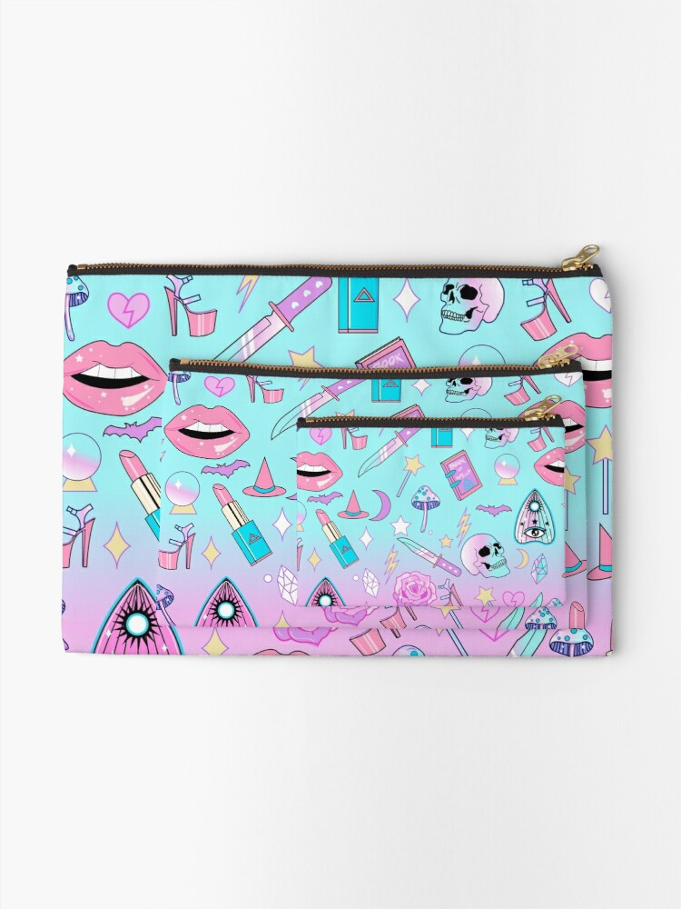 Alternate view of Girly Pastel Witch Goth Pattern Zipper Pouch