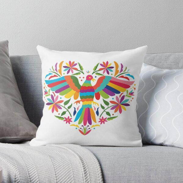 Mexican Otomí Heart Design Cojín