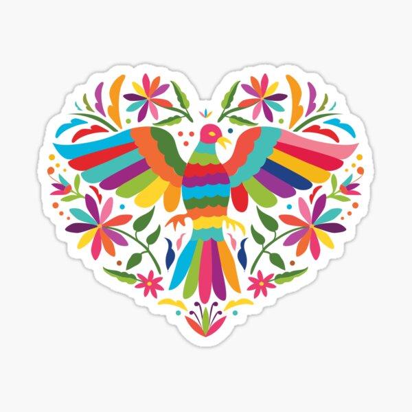 Mexican Otomí Heart Design Pegatina