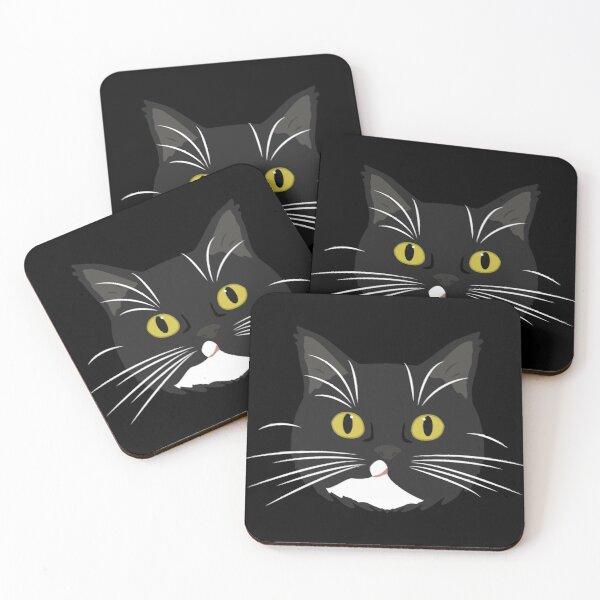 Black and White Cat with Yellow Eyes - Shadow Coasters (Set of 4)