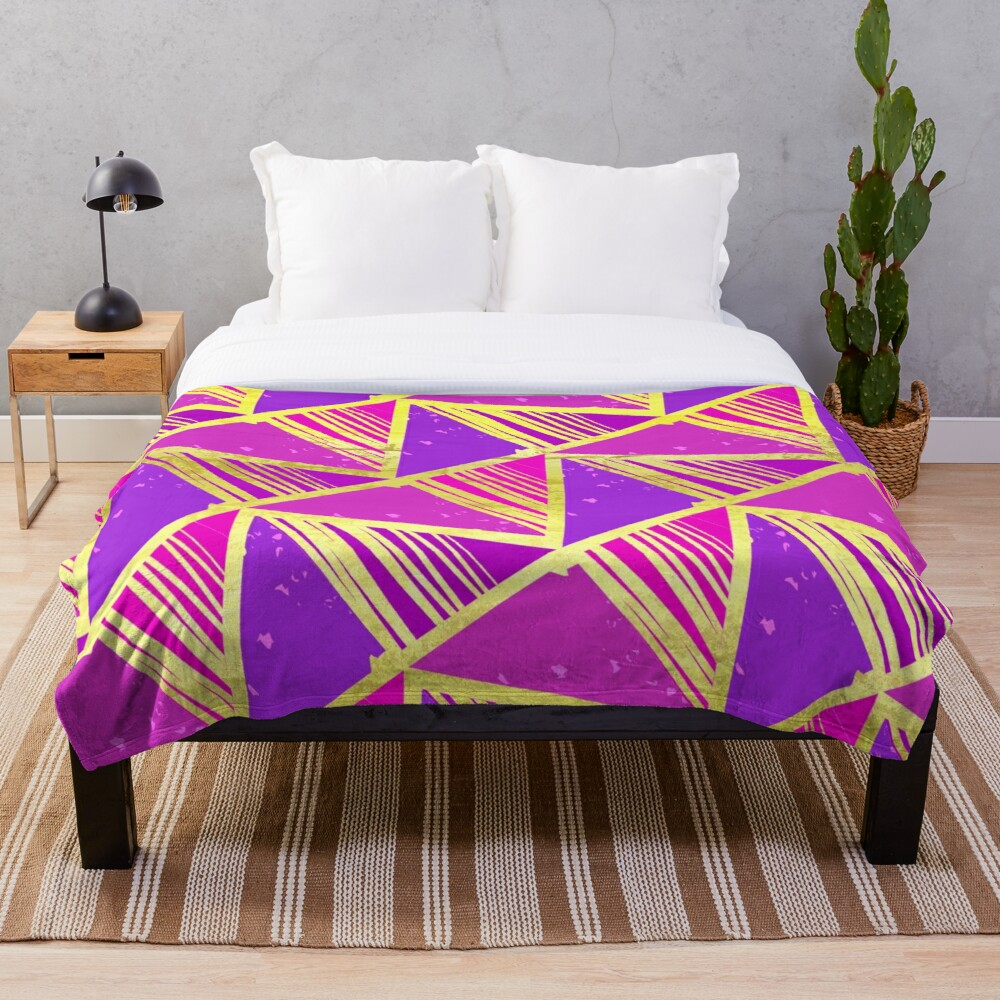 Bright Glam and Funky Art Deco Pattern Throw Blanket