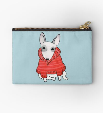 English Bull Terrier Wearing Red Chunky Knit Studio Pouch