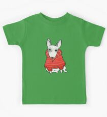 English Bull Terrier Wearing Red Chunky Knit Kids Clothes