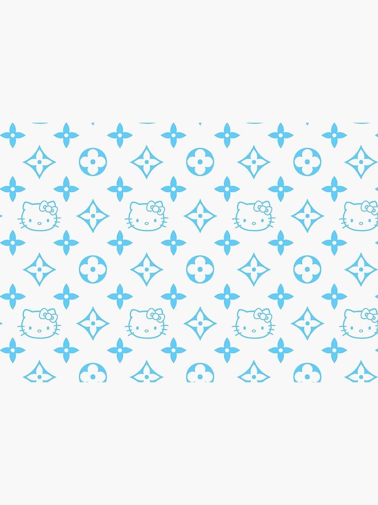 Light blue and white Y2K kitty designer print by lunar0000