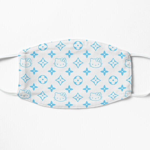 Light blue and white Y2K kitty designer print Mask