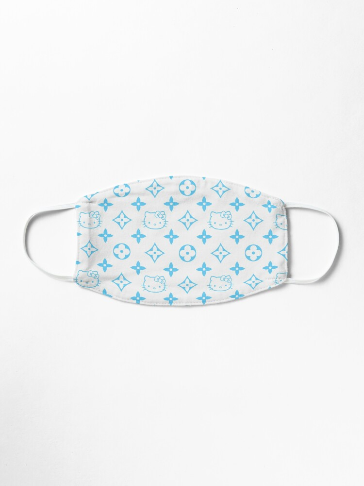 Alternate view of Light blue and white Y2K kitty designer print Mask