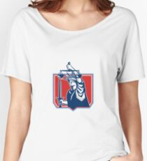 Statue of Liberty Wielding Sword Scales Justice Women's Relaxed Fit T-Shirt