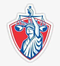 Statue of Liberty Raising Justice Scales Retro Sticker