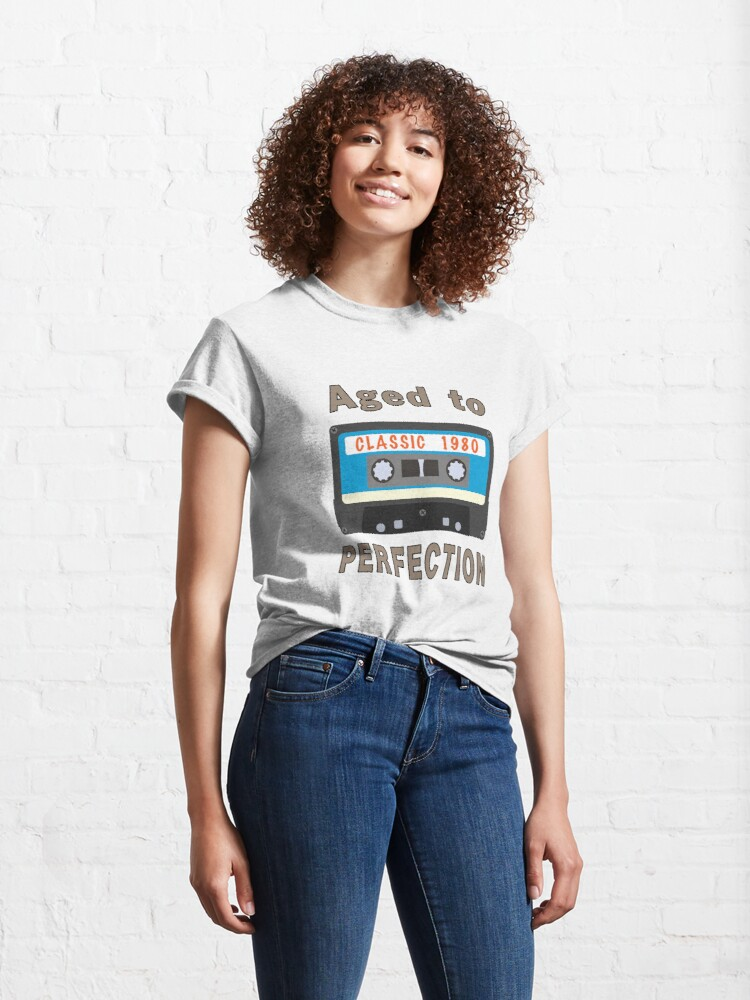 Alternate view of 1980 40th Birthday Aged to Perfection Cassette. Classic T-Shirt
