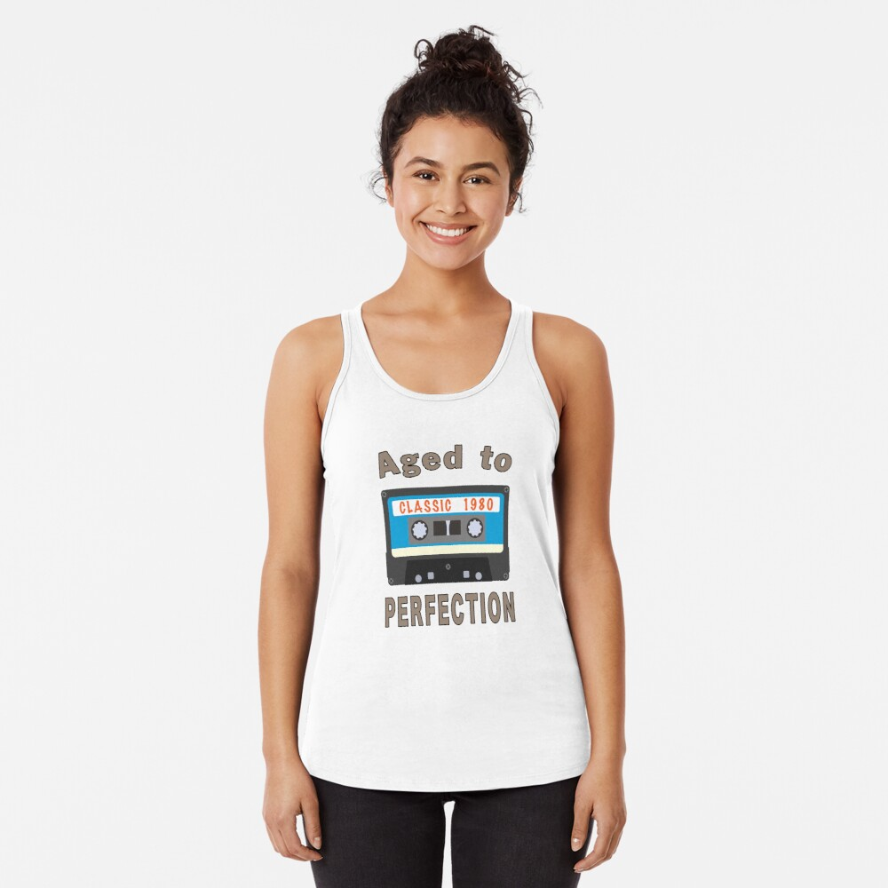 1980 40th Birthday Aged to Perfection Cassette. Racerback Tank Top