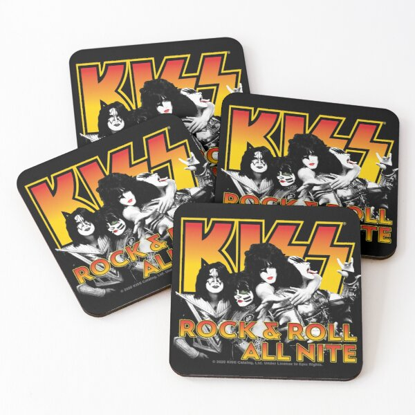 KISS Rock Band Rock & Roll All Nite Spaceman Catman Starman Demon Coasters (Set of 4)