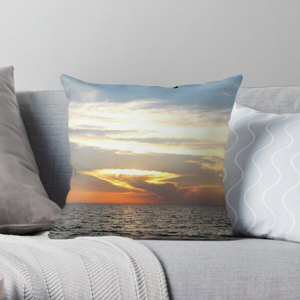 Sunset: Sometimes ugly sunsets happen. Such a place! Throw Pillow