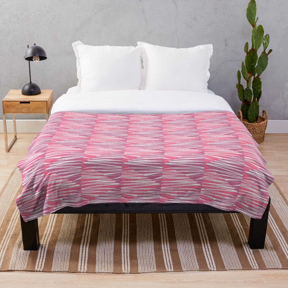 Glam Art Deco Indie Stripe Pattern Throw Blanket