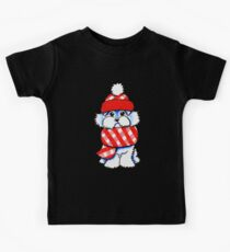 Maltese Happy Red Plaid Scarf Kids Tee