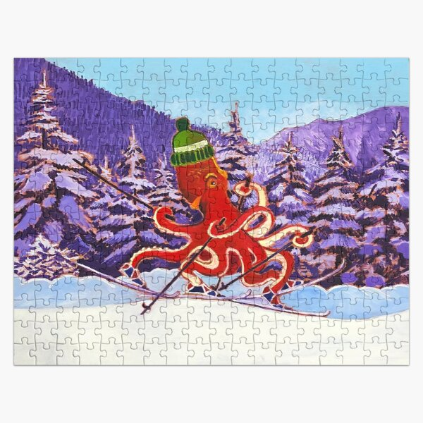 Octopus Skiing Art Print, Art for Kids Room, Cross-Country Skiing, Animals Skiing, Gift for Skier, Encouragement Poster, Squid Painting Jigsaw Puzzle