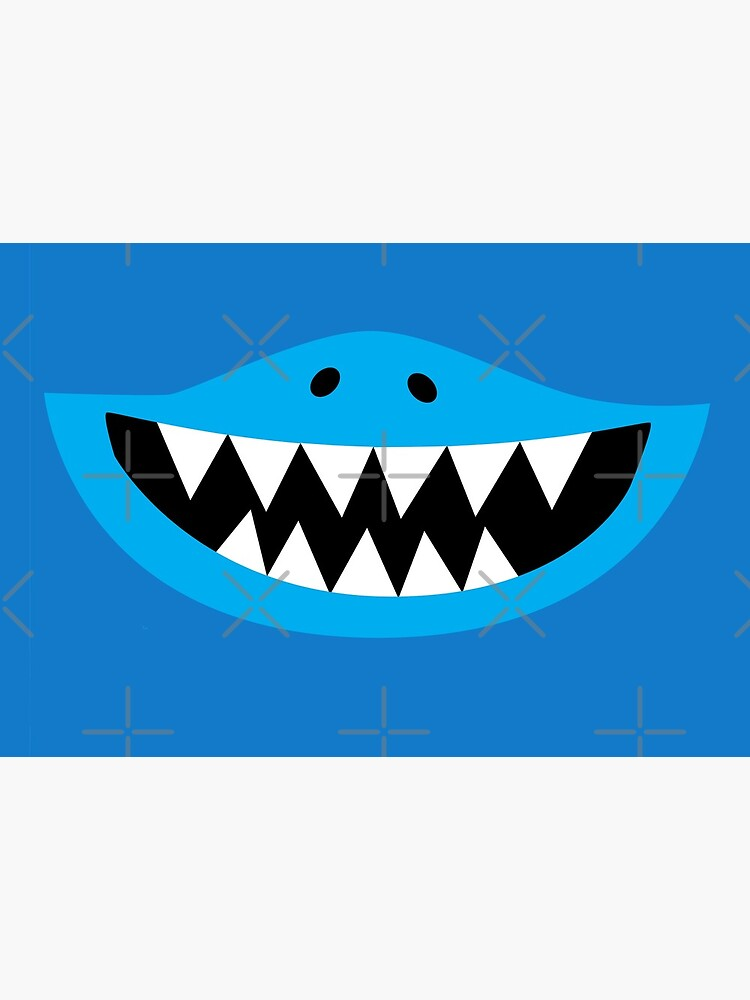 Kids Face Mask Shark Teeth Smiling by dgavisuals