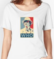Doctor Who Peter Davison Barack Obama Hope style poster Women's Relaxed Fit T-Shirt