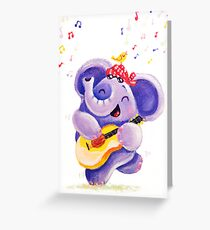 Playing Guitar - Rondy the Elephant musician Greeting Card