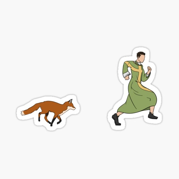 Hot Priest Vs. Fox Sticker