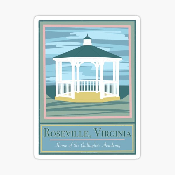 Roseville Virginia Home of the Gallagher Academy Travel Art Sticker