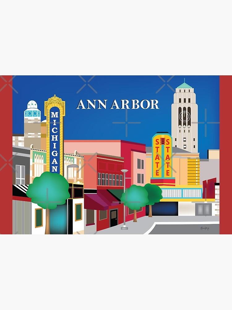 Ann Arbor, Michigan - Skyline Illustration by Loose Petals by LoosePetals