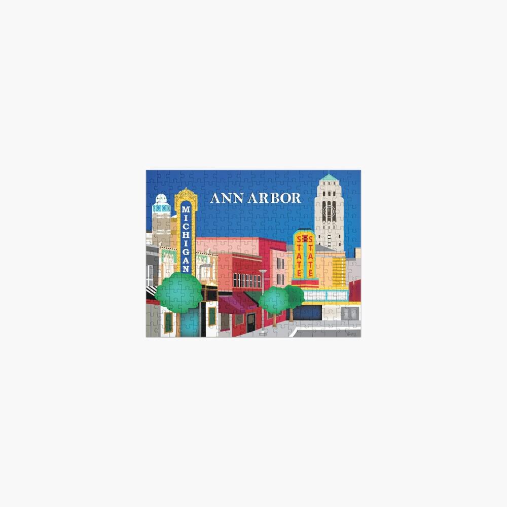 Ann Arbor, Michigan - Skyline Illustration by Loose Petals Jigsaw Puzzle
