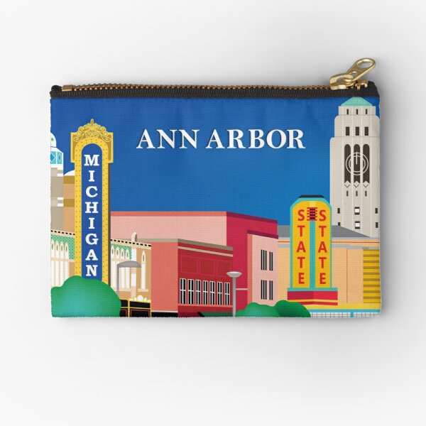 Ann Arbor, Michigan - Skyline Illustration by Loose Petals Zipper Pouch
