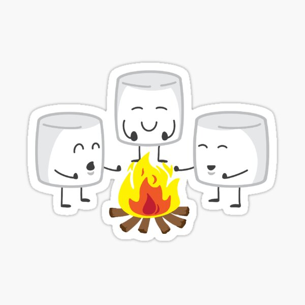 marshmallows by a fire Sticker
