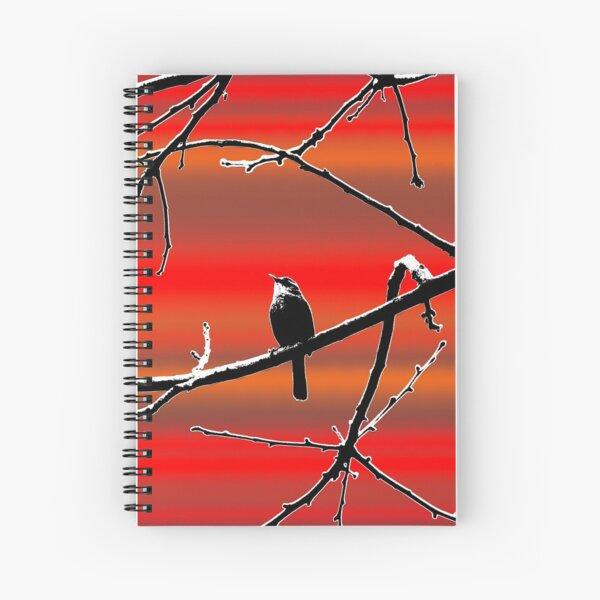 Wren on Branch Silhouette on Sunset Tones Spiral Notebook