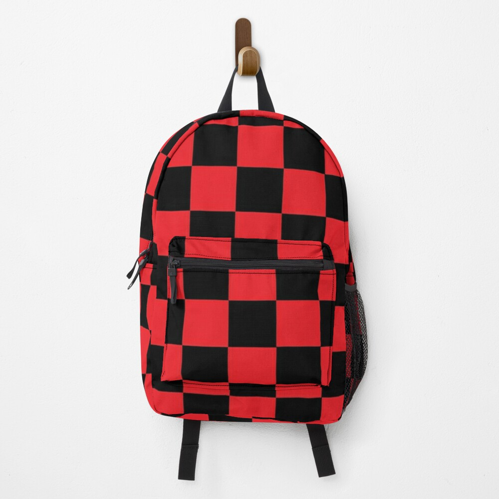 Checkered Red and Black   Backpack