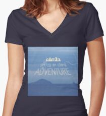 Off To An Island Adventure Blue Coast Dawn Women's Fitted V-Neck T-Shirt