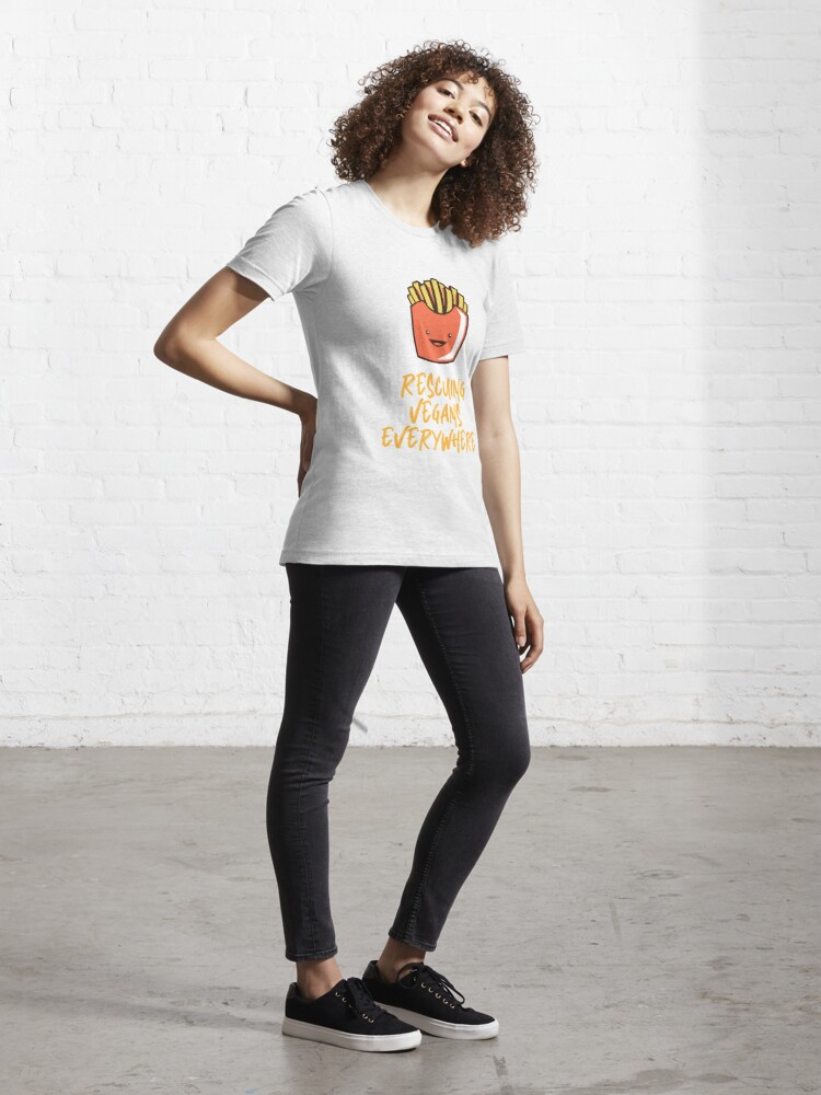 Alternate view of Rescuing Vegans Everywhere with Fries Essential T-Shirt