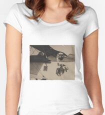 Vintage Black and White Military Bulldog Aviation Women's Fitted Scoop T-Shirt