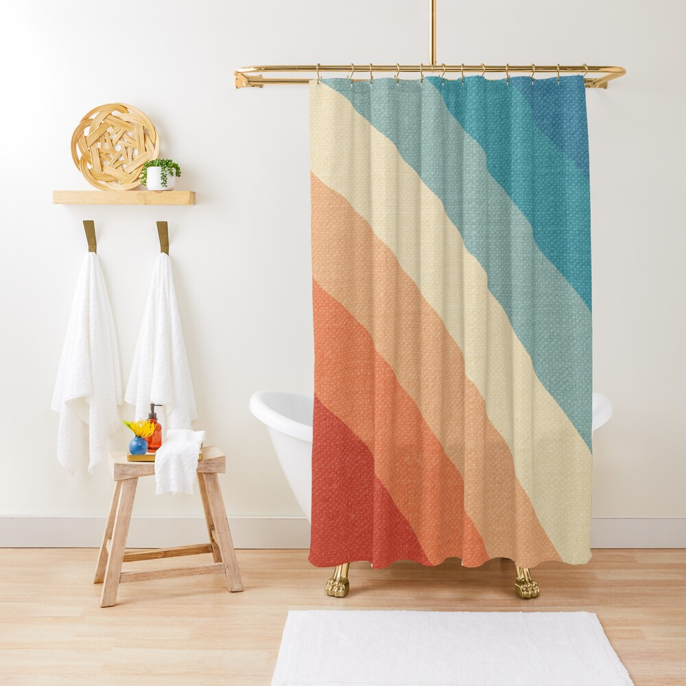 Retro Vintage Stripes Shower Curtain