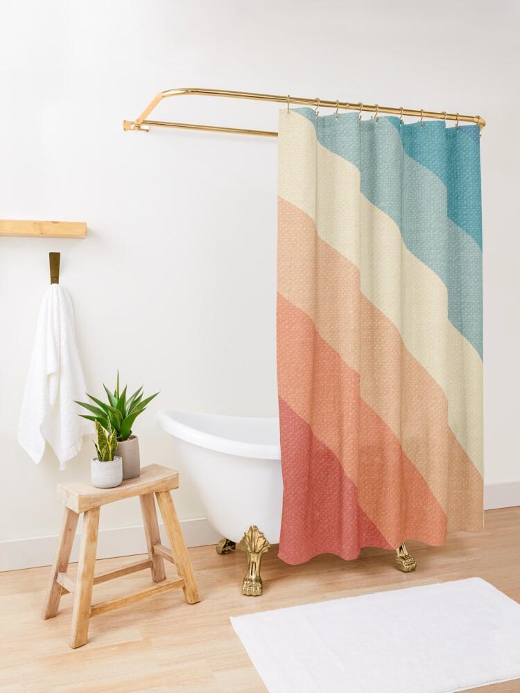 Alternate view of Retro Vintage Stripes Shower Curtain