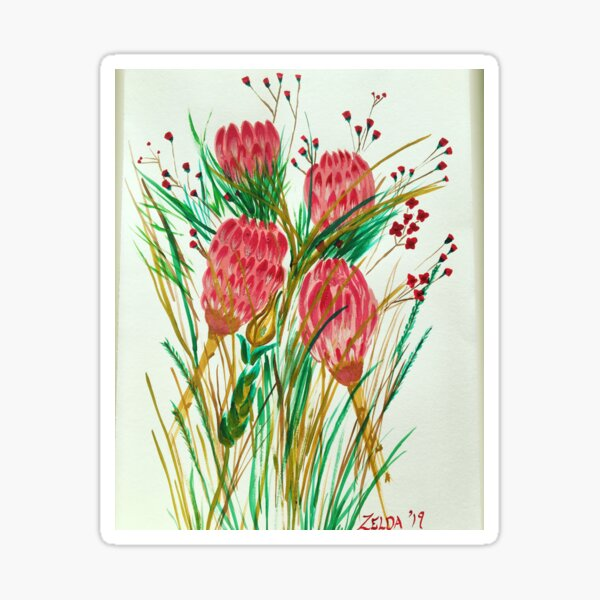 Painted Proteas Flower Sticker