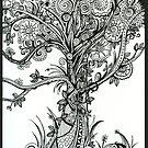 Elegance,  Ink Tree Drawing by Danielle Scott
