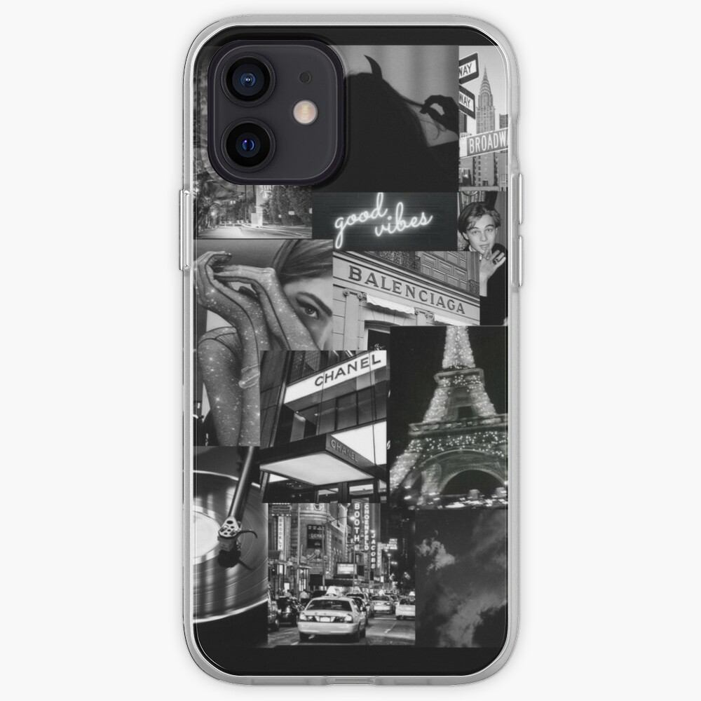 black aesthetic collage iPhone Case & Cover