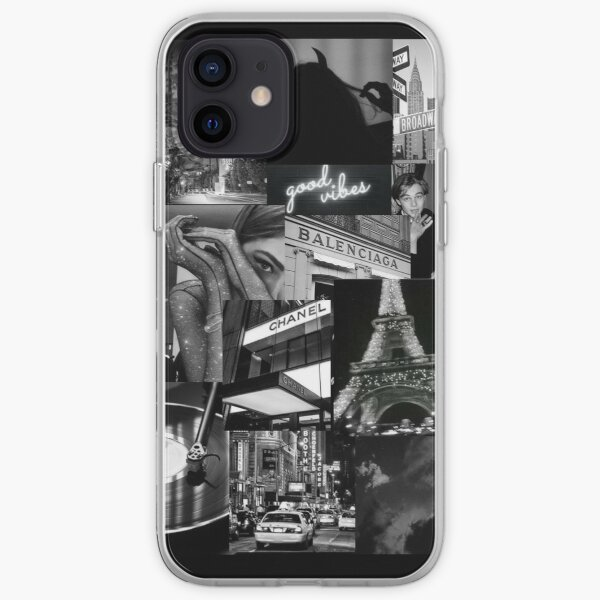 black aesthetic collage iPhone Soft Case