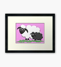 Black Sheep Lamb & Mom in Pink Framed Print