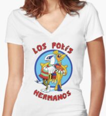 Los Pokés Hermanos Women's Fitted V-Neck T-Shirt