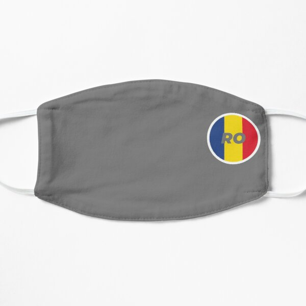 Romania   Round Flag With Country Code Flat Mask