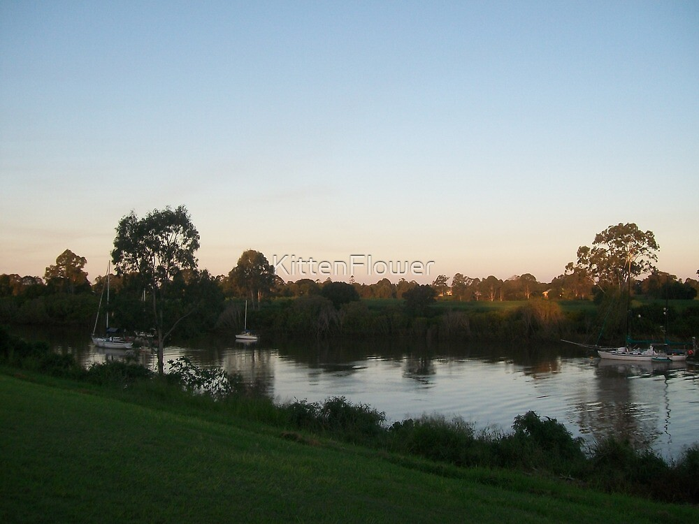 Sailboats on the Mary River at Sunset by KittenFlower