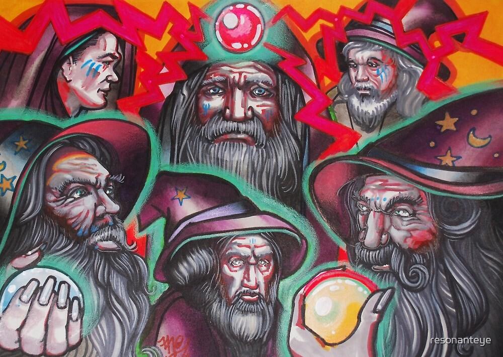 pack of neon wizards. by resonanteye