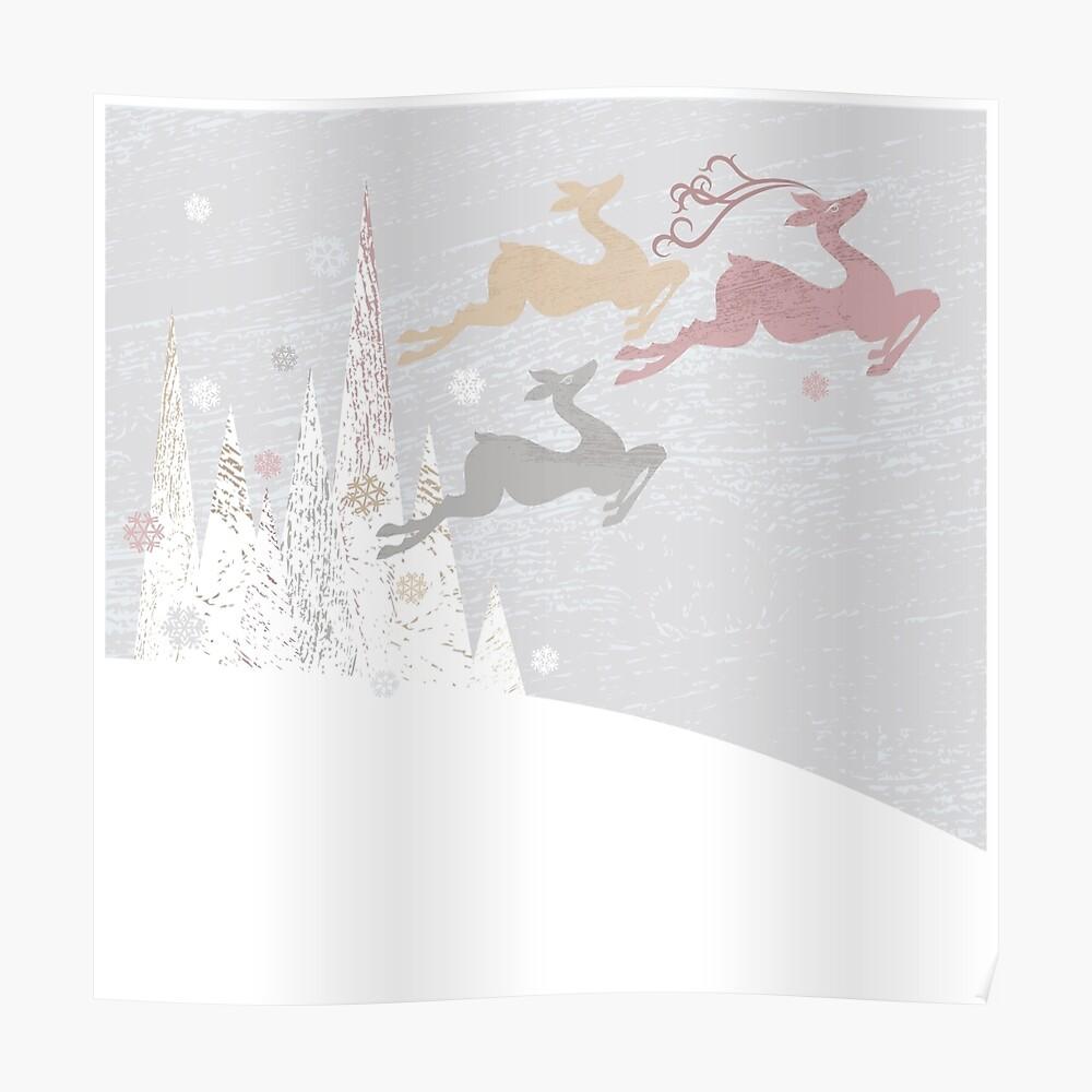Flying Christmas Deer Poster